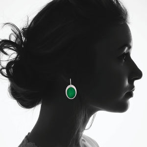 Enamel Earrings in Spring Green
