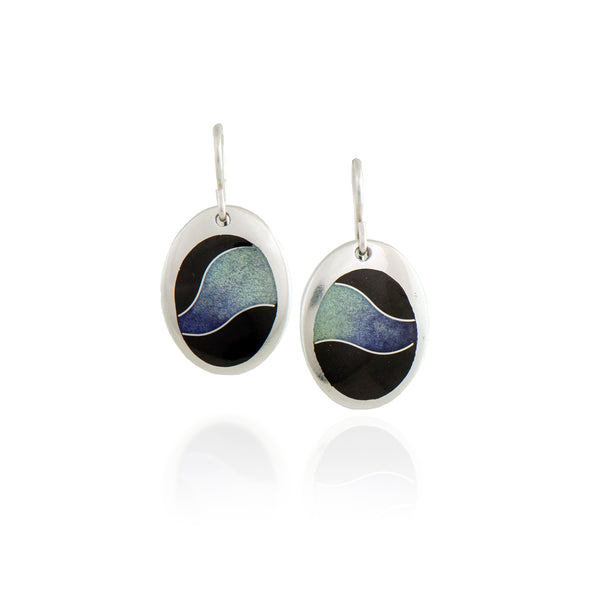 Oval Enamel Earrings with Purple and Blue Wave