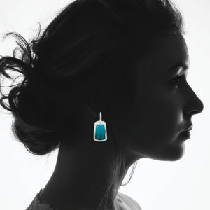 Enamel Earrings in Watery Blues