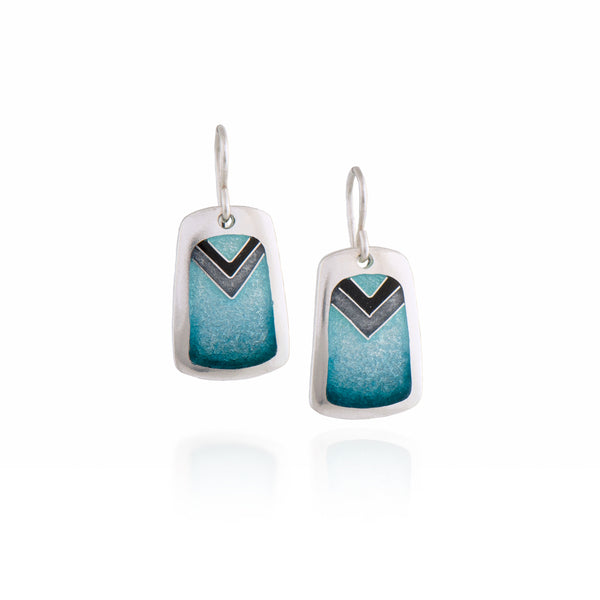 Turquoise Enamel Earrings with Gray and Black Chevron