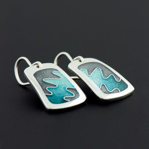 Enamel Earrings with Squiggle in Turquoise and Gray
