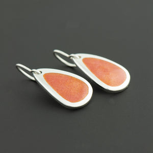 Enamel Earrings in Living Coral