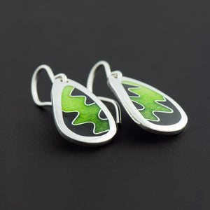 Enamel Earrings with Squiggle in Lime Green and Black