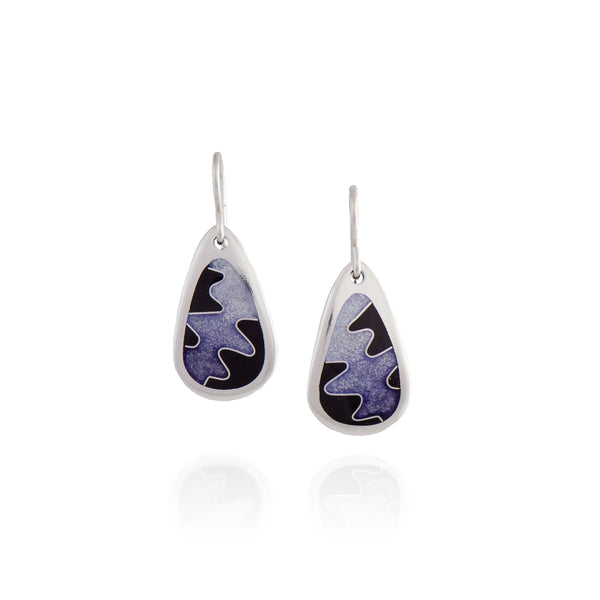 Enamel Earrings with Squiggle in Purple and Black