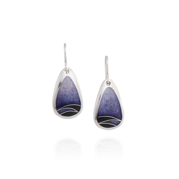 Purple Enamel Earring with Black Zig-Zag