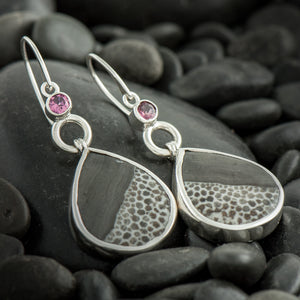 Black Fossil Coral Earrings with Pink Tourmaline