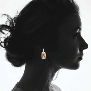 Giraffe Print Enamel Earrings in Golden Orange
