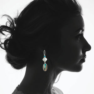 Peruvian Opal Earrings with Blue Topaz