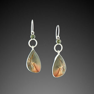 Red River Jasper Earrings with Moldavite