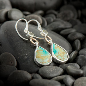 Tibet Turquoise Earrings with Lemon Quartz