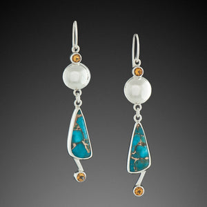 Turquoise Earrings with Golden Citrine