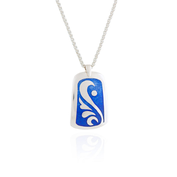 Blue Wave Enamel Pendant