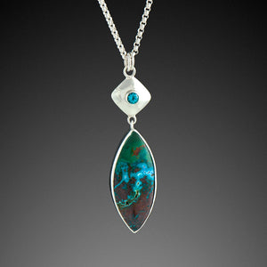 Chrysocolla Malachite Pendant with Blue Topaz