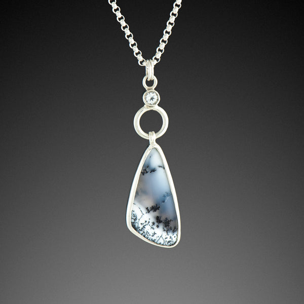 Dendritic Opal Pendant with White Topaz