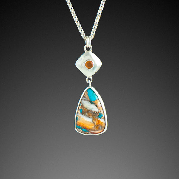 Kingman Turquoise and Spiny Oyster Shell Pendant with Lake County Fire Opal