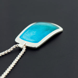 Enamel Pendant in Watery Blues