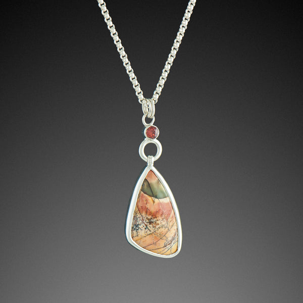 Butterfly Wing, Red River Jasper Pendant with Mozambique Garnet
