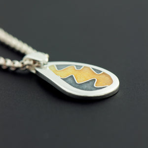 Enamel Pendant with Squiggle in Gold and Grey (Small)