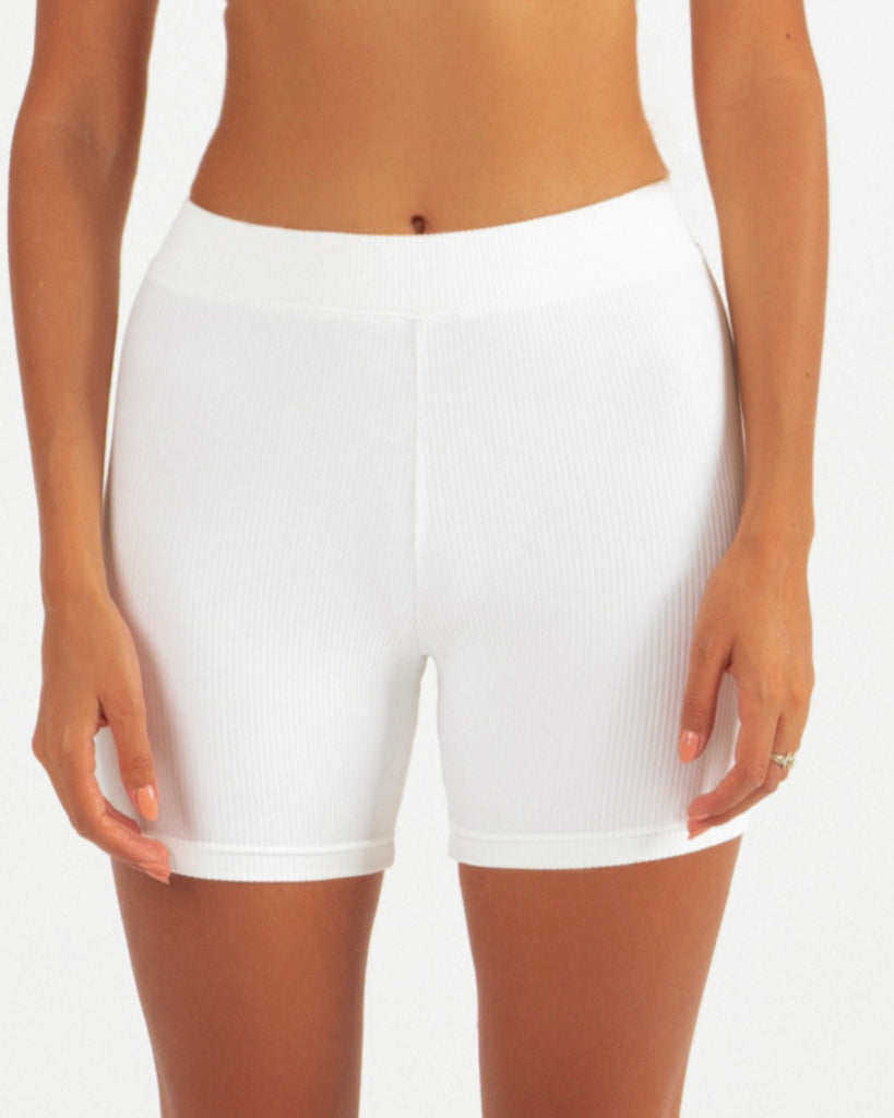 Bracewell Women's White High Waist Running Compression Exercise Shorts