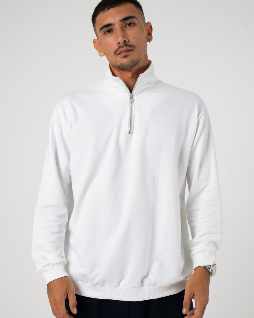 Bracewell Men's Casual White Soft Cotton Quarter Zip Polo Jacket