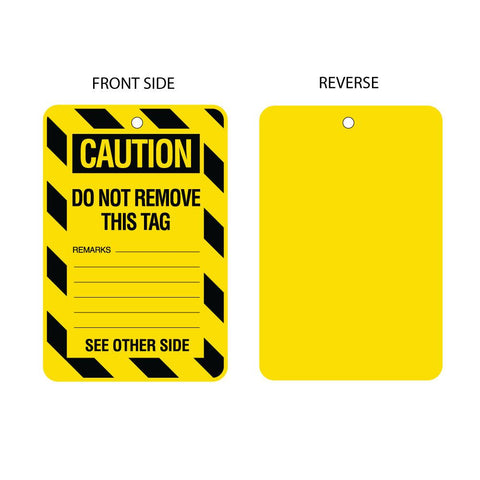 Caution Do Not Remove - Blank Reverse Tag (packs of 10)