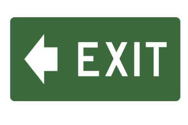 Exit With Arrow Left Sign