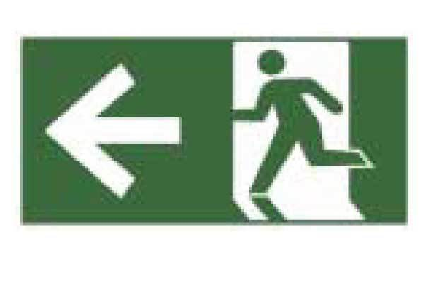 Exit Left With Pictograph of Person Leaving Left Sign