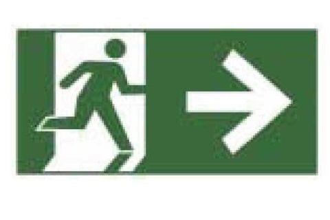 Exit Right With Pictograph of Person Leaving Right Sign