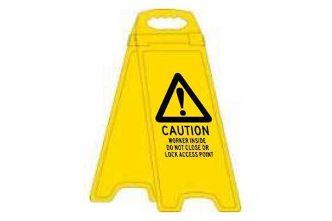 Caution Workers Inside Deluxe Double Sided Floor Stand