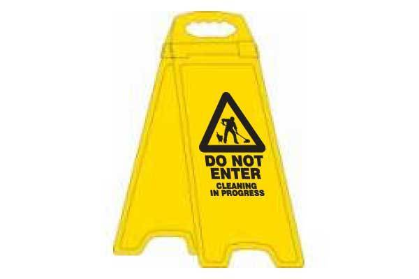 Do Not Enter Cleaning In Progress Deluxe Double Sided Floor Stand