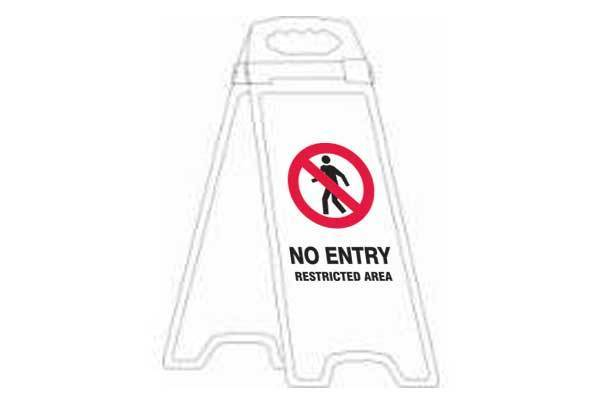 No Entry Restricted Area Deluxe Double Sided Floor Stand