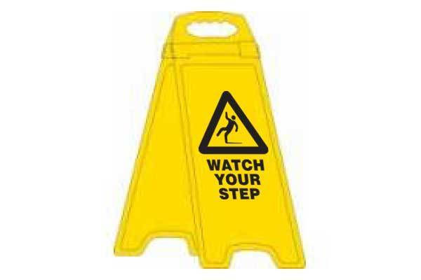 Watch Your Step Deluxe Double Sided Floor Stand