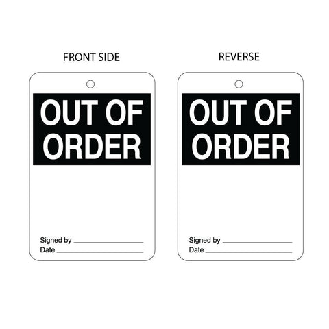 Out of Order Tag Double Sided (packs of 10)