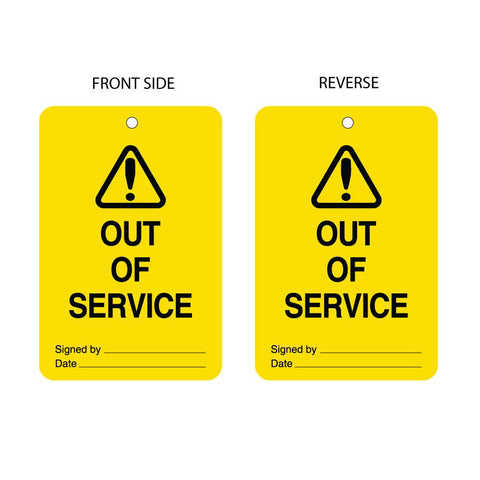 Out of Service Tag Double Sided (packs of 10)