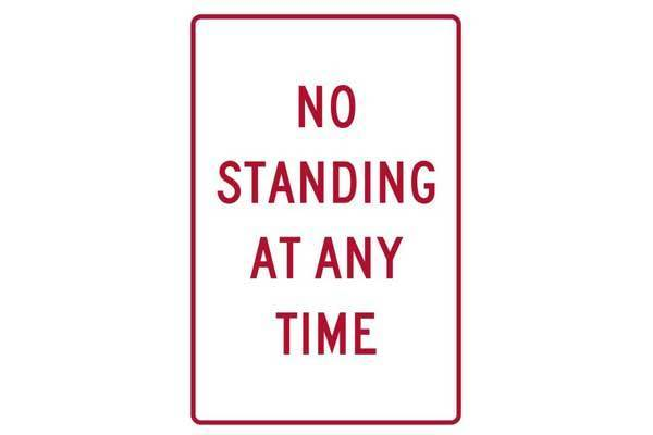 Parking Sign No Standing At Any Time