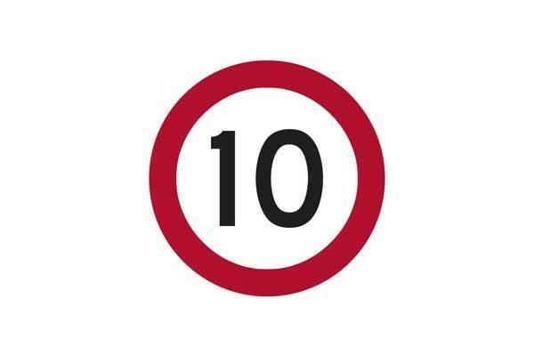 Traffic Control 10KM Speed Sign