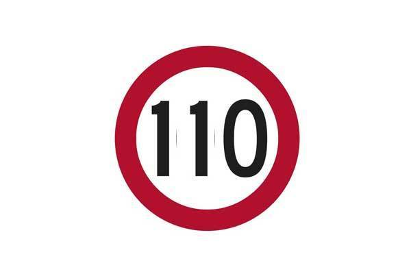 Traffic Control 110KM Speed Sign