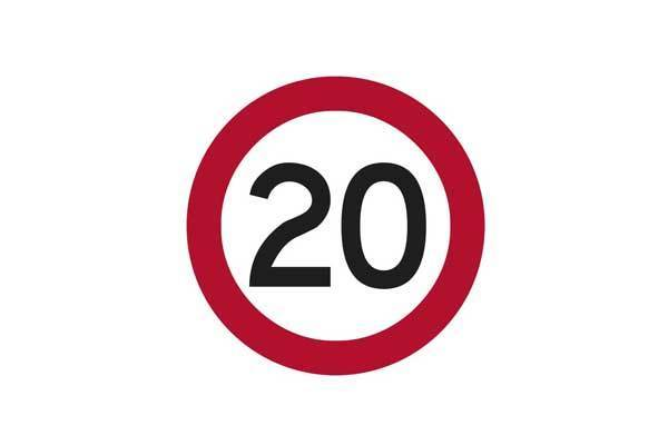 Traffic Control 20KM Speed Sign