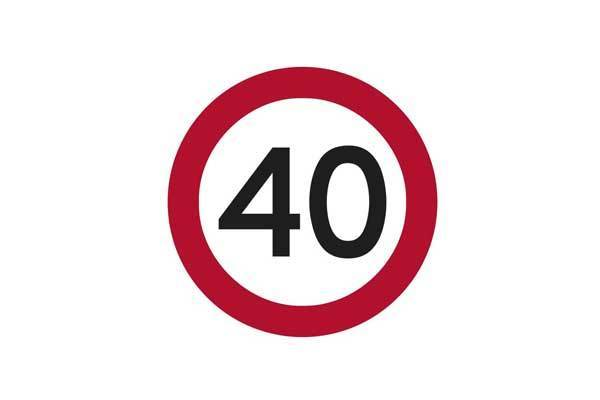 Traffic Control 40KM Speed Sign