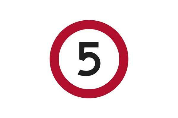 Traffic Control 5KM Speed Sign