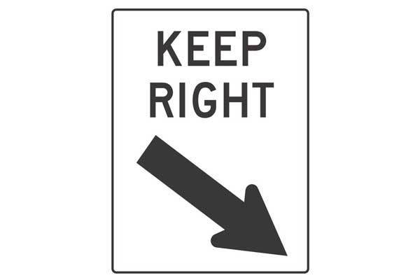 Traffic Control Keep Right Sign