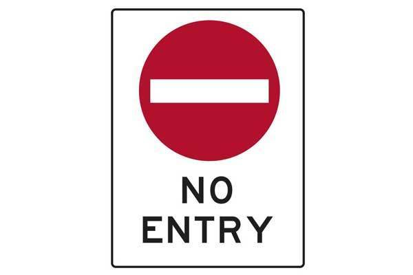 Traffic Control No Entry Sign