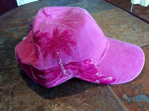 Palm Trees Embroidered Cap  Pink
