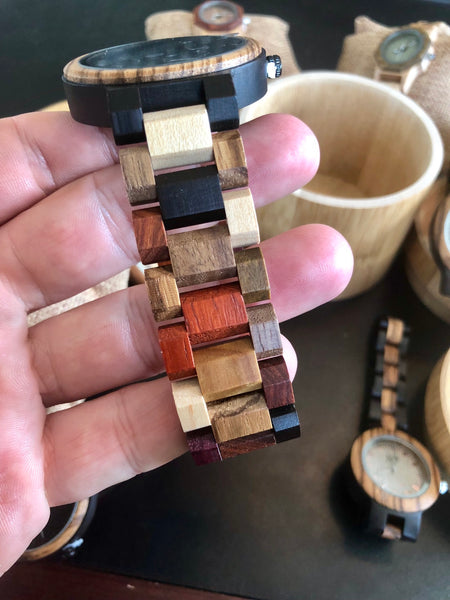 Multi Colored Day Date Wooden Watch  - Black Dial