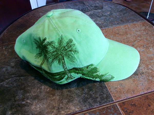 Palm Trees Embroidered Cap Green