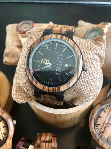 Zebra wood Ebony Wooden Watch  - Black Dial