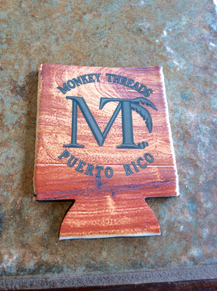 Monkey Threads Wood Grain Koozie
