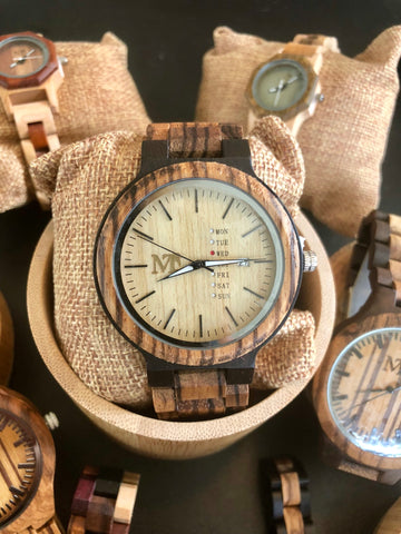 Zebra wood Ebony Wooden Watch  - White Dial