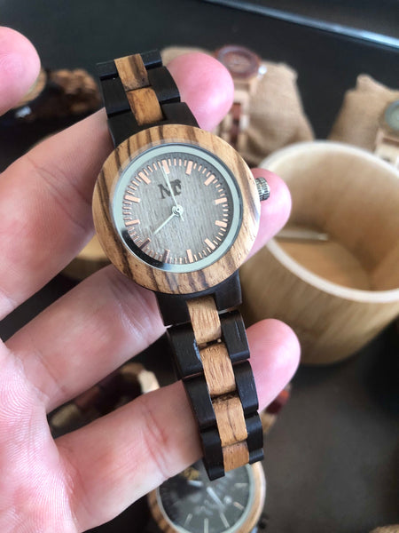 Women's Zebra wood Ebony Watch - white dial
