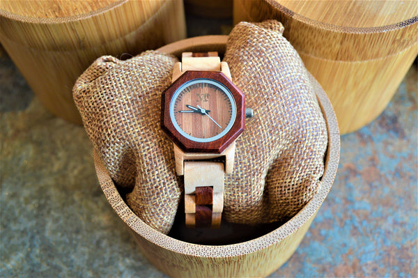 Women's Two-Tone Bamboo Wood and Rosewood Watch